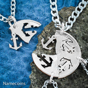 Anchors Away necklaces, 4 Best Friends or Family Jewelry, by Namecoins