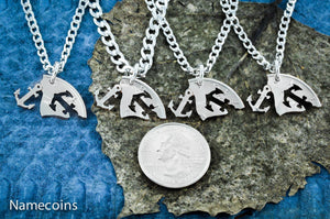 Anchors Away necklaces, 4 Best Friends or Family Jewelry,Hand cut coin