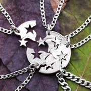 Star Friendship Necklaces, 5 Best Friends Gift, Interlocking like a puzzle