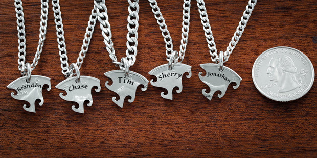 5 Best Friend Necklace, Custom Name Necklaces, Interlocking Puzzle Jewelry