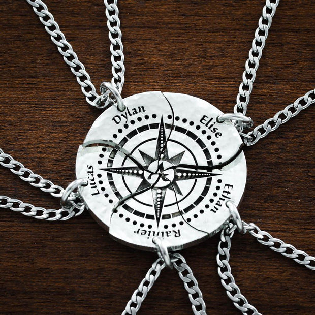 Family of 5, Compass Necklaces, Custom Engraved Names Coin Gift