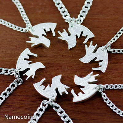 Family Necklace set, 6 Piece interlocking I love you hands, Silver dollar, hand cut coin