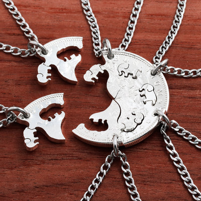 Six Best Friends Interlocking Silver Elephant Necklaces