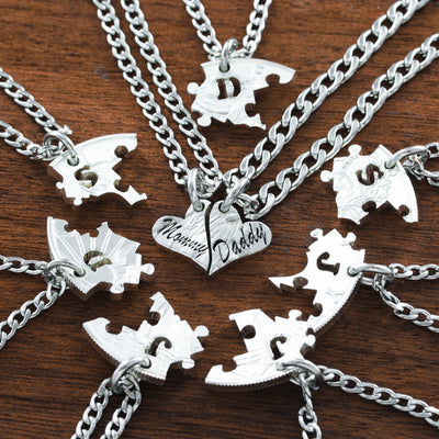 Family Necklaces fitting together set of 9, Puzzle Pieces
