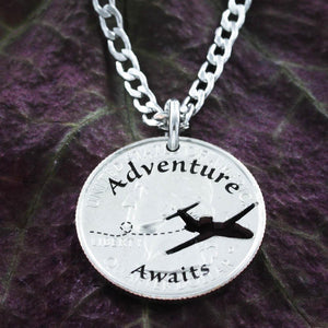 Adventure Awaits Necklace, Love to Travel Aviation Jewelry Coin by Namecoins