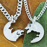 Bear and Wolf Necklace Set, BFF and Couples Necklaces Interlocking hand cut coin