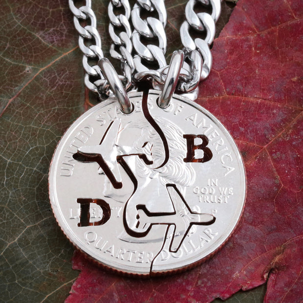 Pilot Grad Gift, Airplane Necklaces, Initials, BFF or Couples Coin