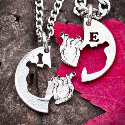 Anatomical Heart Couples Necklaces, Custom Initials