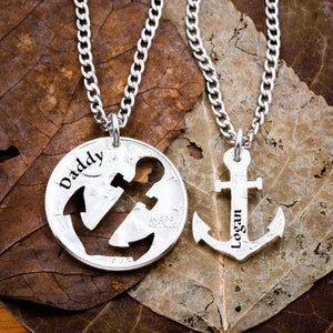Anchor Family Necklace, Engraved Names, Dad Son necklace coin