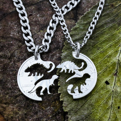 Interlocking Hand Cut Coin Relationship BFF Gift Birds Couples Necklace Set