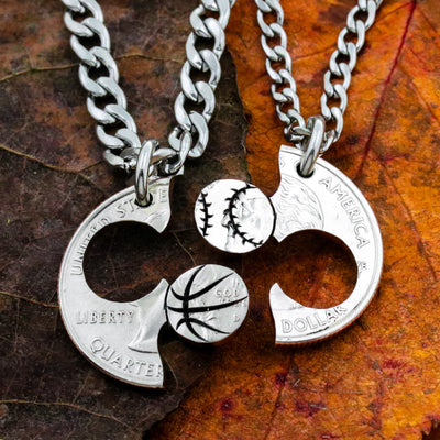 Baseball Basketball Gift, Couples and Best Friends Necklaces