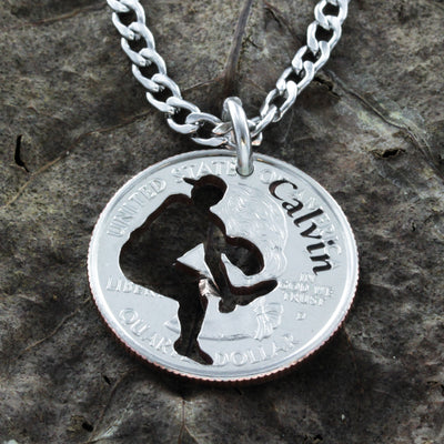 Baseball Pitcher Necklace, Engraved Name, Coin Gift