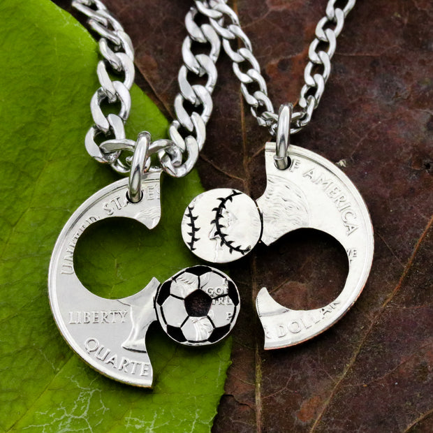 Soccor Ball Baseball Gift, Couples and Best Friends Necklaces by Namecoins