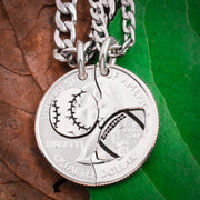 Football and Baseball Split Necklaces