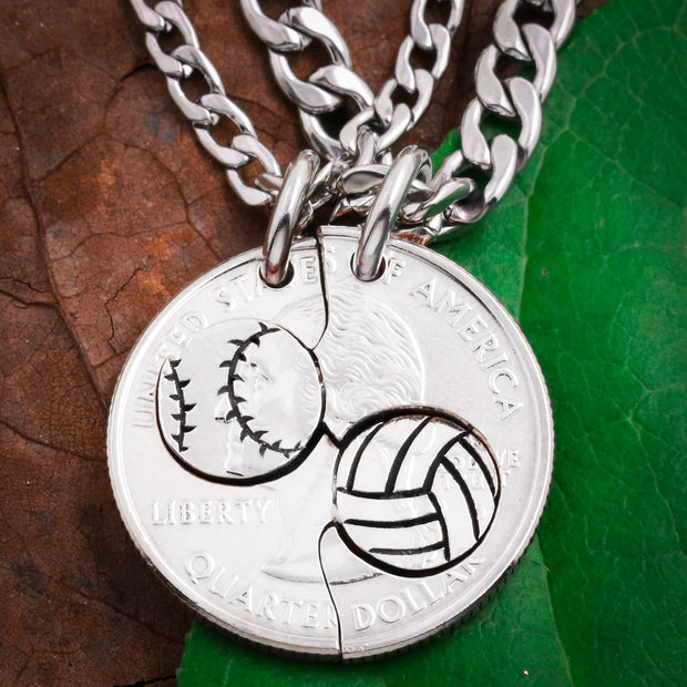 Baseball and Volleyball Couples and Best Friends Necklaces