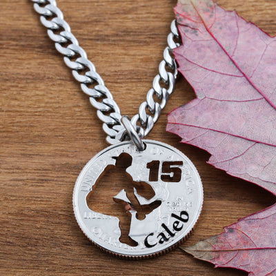 Personalized Baseball Pitcher Necklace, Name and Jersey Number