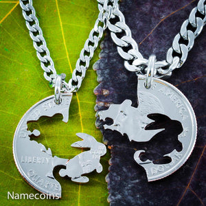 Bear and Bunny Necklace Set, Interlocking hand cut coin