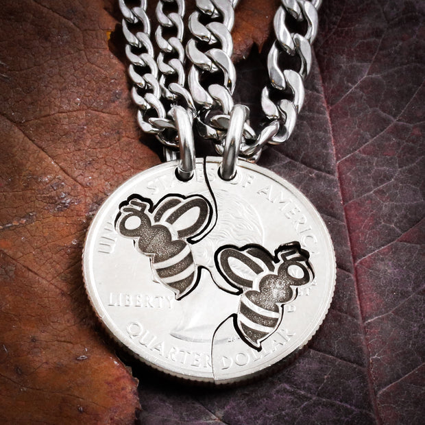 Bee Best Friends Necklaces, Bumble Bee Jewelry, Bff Gift