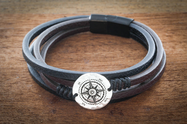 Fine Leather and Silver Compass Bracelet, engraved on a real Silver US dime by Namecoins