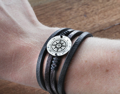 Fine Leather and Silver Compass Bracelet, engraved on a real Silver US Coin