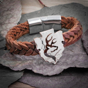Buck Deer Bracelet, Arrowhead in Leather Bracelet, Hunters Gift