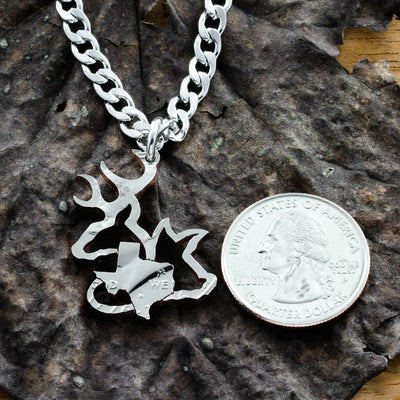 Buck, Hog, Pick Your State Necklace, Texans Hunters Jewelry Coin