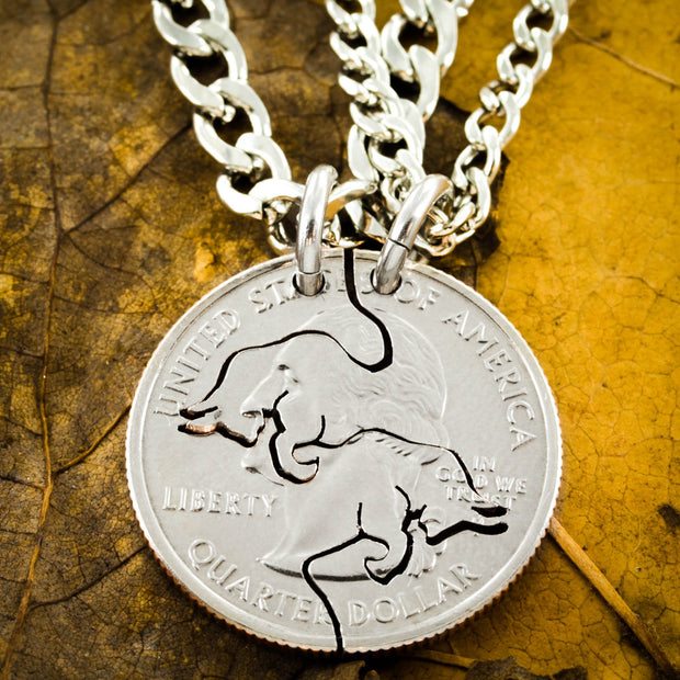 Charging Bull Necklaces, Best Friends or couples Jewelry, Interlocking pieces, Hand Cut Coin