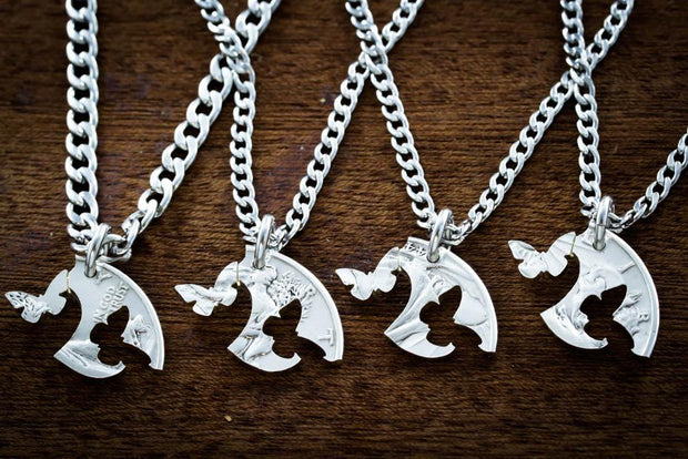 Butterfly Puzzle Jewelry, 4 Best Friends Necklaces, Hand Cut Coin