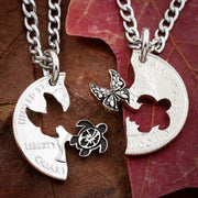 Sea Turtle Hibiscus and Butterfly BFF Coin Necklaces