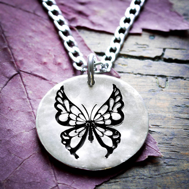 Butterfly Engraved Necklace, Hammered Silver Charm by NameCoins