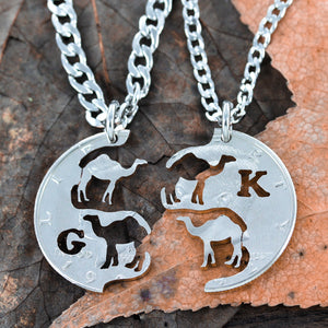 Camel Couples Necklaces, His and Her Dromedary Initial Coin Jewelry