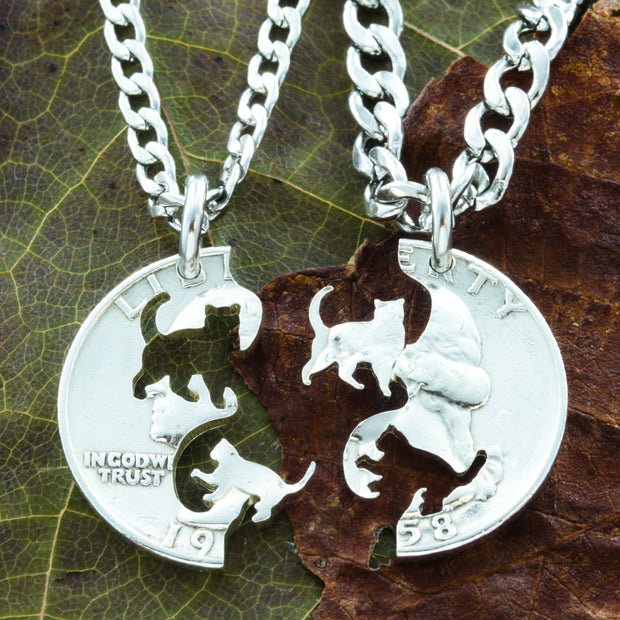 Cat and Kitten Friendship Necklaces, Pet Lover Gift Coin by Namecoins