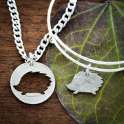 Hedgehog Bracelet and Necklace, Best Friends gift, Hand cut coin by Namecoins