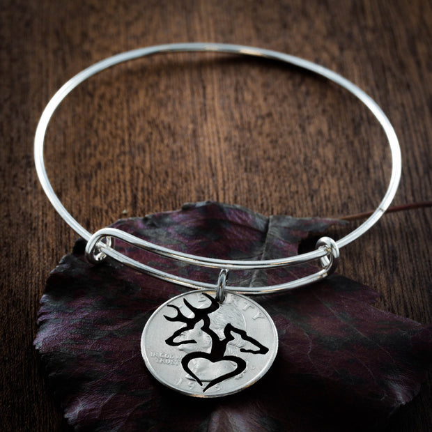 Buck and Doe Bracelet, Charm Bangle, Buck and doe heart, hand cut coin