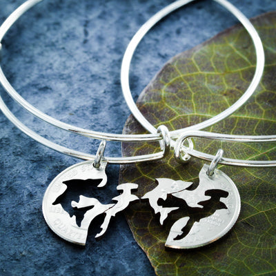 Best Friends Shark Charm Bangles, Shark Bracelet, Great White and Hammerehead