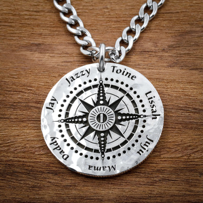 Personalized Compass necklace, Family of 7, Engraved silver coin