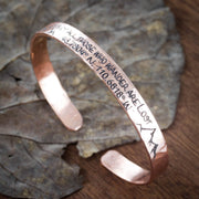 GPS Bracelet, Hammered Copper Cuff, Not all those who wander are lost, With mountans and GPS Coordinates
