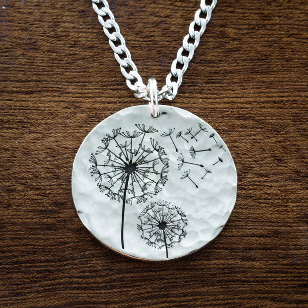 Silver Dandelion, Engraved Name, Artsy Gift, Hammered Silver Coin