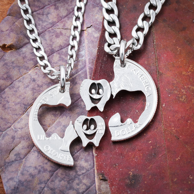 Dental Squad BFF Necklaces, Happy Teeth Coin Jewelry, Dental Gift