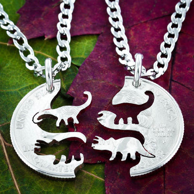 Triceratops and Brontasaurus best friends necklaces