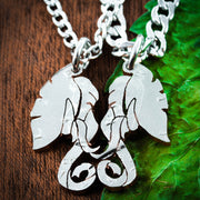 Elephant Couples Necklaces, His and Her Relationship Jewelry, hand cut coin