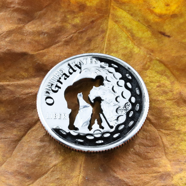Father Daughter Family Name gift, Baby girl daddy golfer coin Marker