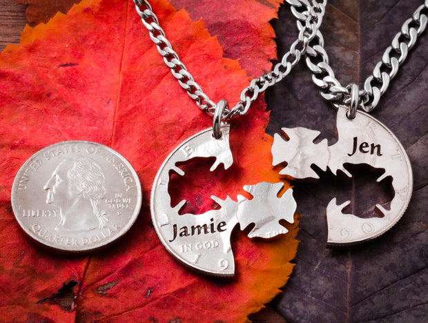 Firemen gifts, His and Her names engraved, firefighter wedding, Interlocking Cut Coin