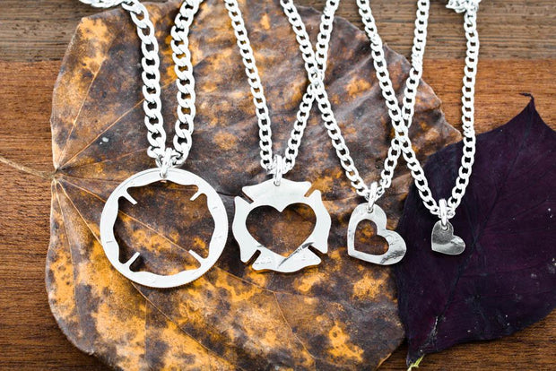 Firefighter Family Necklace Set, Fireman Symbol Wife Heart, Coin by Namecoins