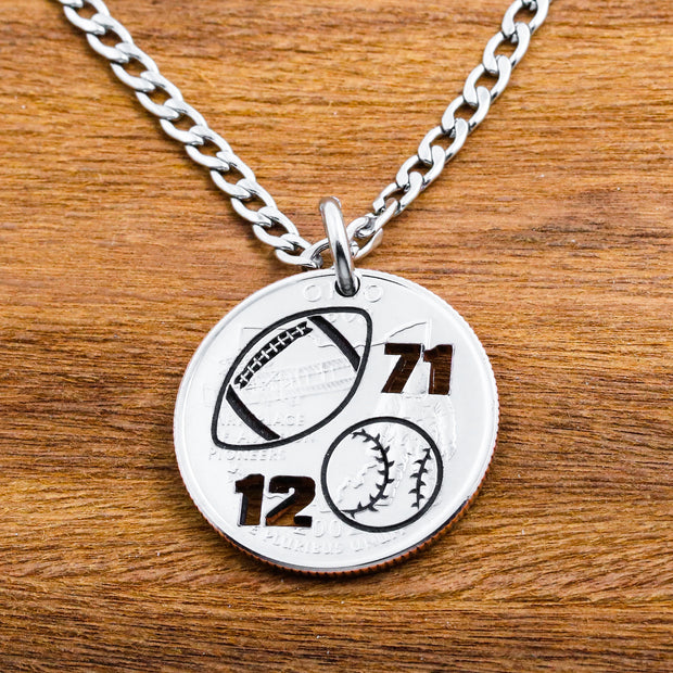 Football Necklace, Baseball Key Chain, Jersey Number Coin Gift