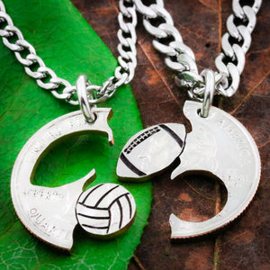 Football and Volleyball Couples Necklaces