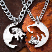 Fox and Rabbit Couples and Best Friends Necklaces