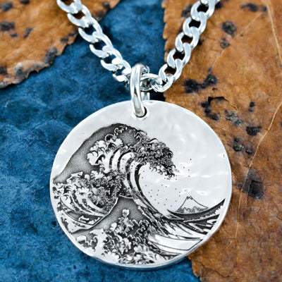 Great Wave Off Kanagawa Silver Necklace