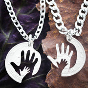 Hand in Hand Necklaces, Father and Mother Couples Necklaces, Baby Shower gift