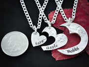 3 Best Friends Heart Necklaces Custom Names Engraved, Friendships or family